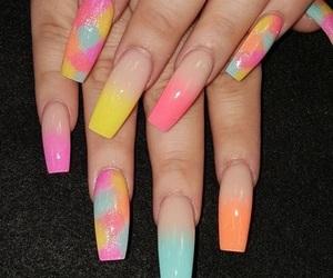 long, nail art, and rainbow image