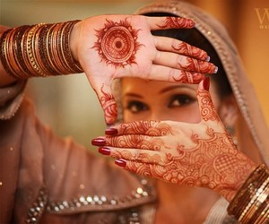 bride, indian, and mehndi image