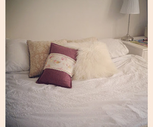 bed, bedroom, and cushion image