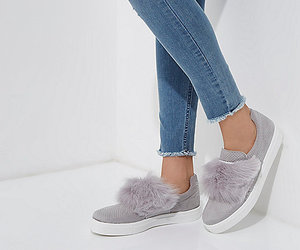 faux fur, grey, and slip on image