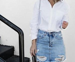 fashion, skirt, and denim image