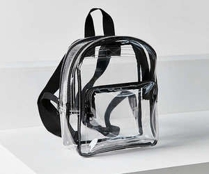 black, transparent, and mini backpack image