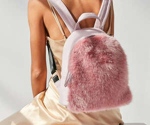 faux fur, pink, and mini backpack image