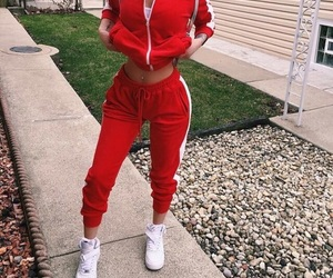 red, outfit, and body image