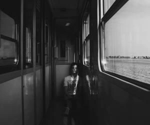 black and white, sad, and tour image