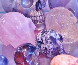 skull, pink, and purple image