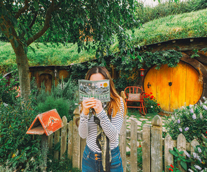 book, girl, and hobbit image