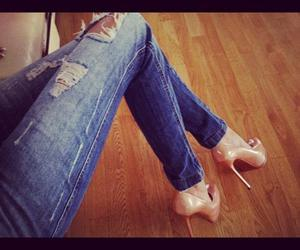 jeans, heels, and shoes image