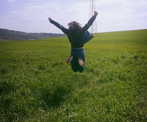 field, jump, and girl image