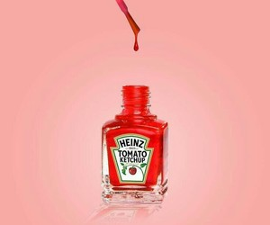 red, pink, and ketchup image