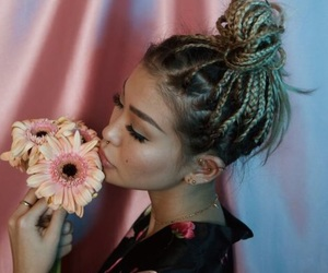 braids, pretty, and flowers image