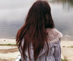 girl, good weather, and lake image