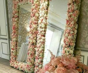 flowers, mirror, and rose image