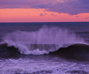 ocean, sunset, and waves image