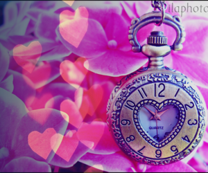 clock, pink, and love image