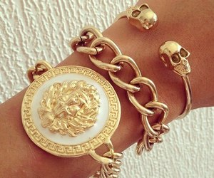 gold, bracelet, and Versace image