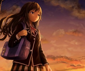 anime, girl, and sunset image