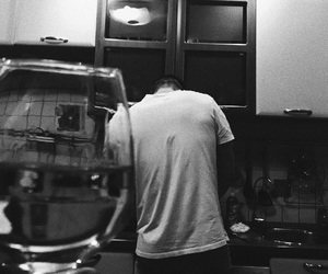 alcohol, black and white, and boy image