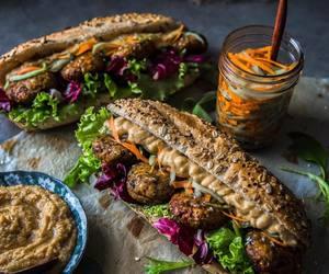falafel, hummus, and pickle image