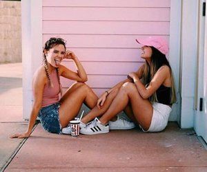 girls, friends, and pink image