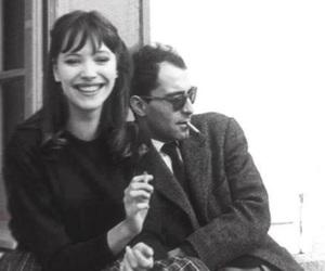anna karina, couple, and black and white image