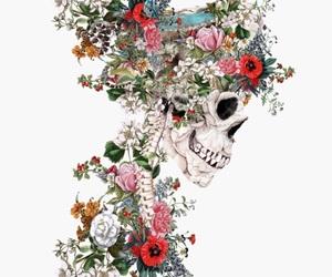 art, flowers, and skull image