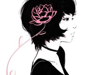 art, flower, and girl image