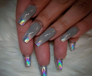 iridescent, gel nails, and acrylic nails image