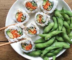 edamame, food, and sushi image