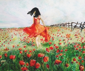 art, poppy, and red dress image