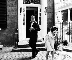 black and white, jackie o, and JFK image