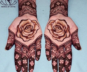 flowers, hands, and mehndi image