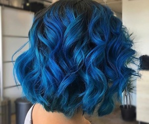 beauty, blue hair, and curly hair image
