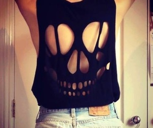 black, skull, and shirt image
