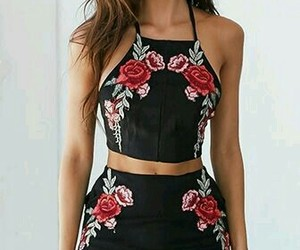 black, rose, and dres image