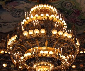 palais garnier, ceiling, and chandelier image