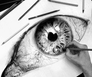 black and white, eye, and drawing image