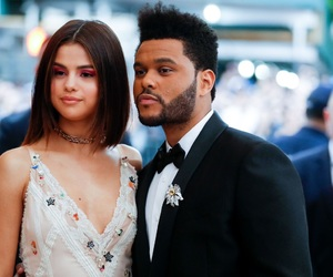 the weeknd, selena gomez, and header image