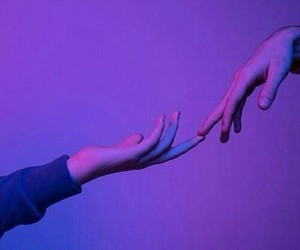 purple, hands, and aesthetic image