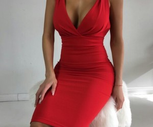 dress, luxury, and red image