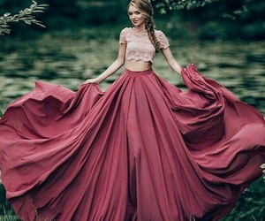 dress, pink, and red image