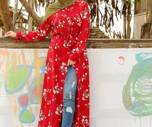hijab and open dress with jeans image