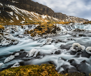 ice, iceland, and river image
