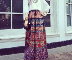 hijab, outfit, and skirt image