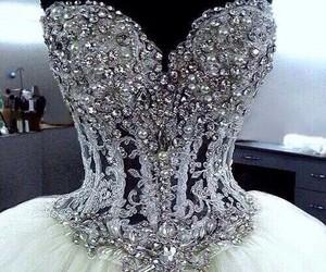 dress, wedding, and diamond image