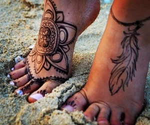 tattoo, feet, and beach image