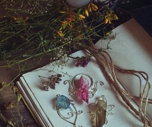 crystal, witch, and book image