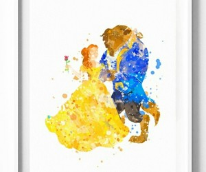 beauty and the beast and watercolor image