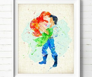 the little mermaid and watercolor image