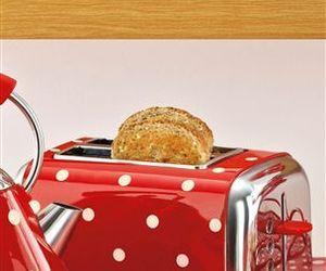 polka dot, red, and vintage look image